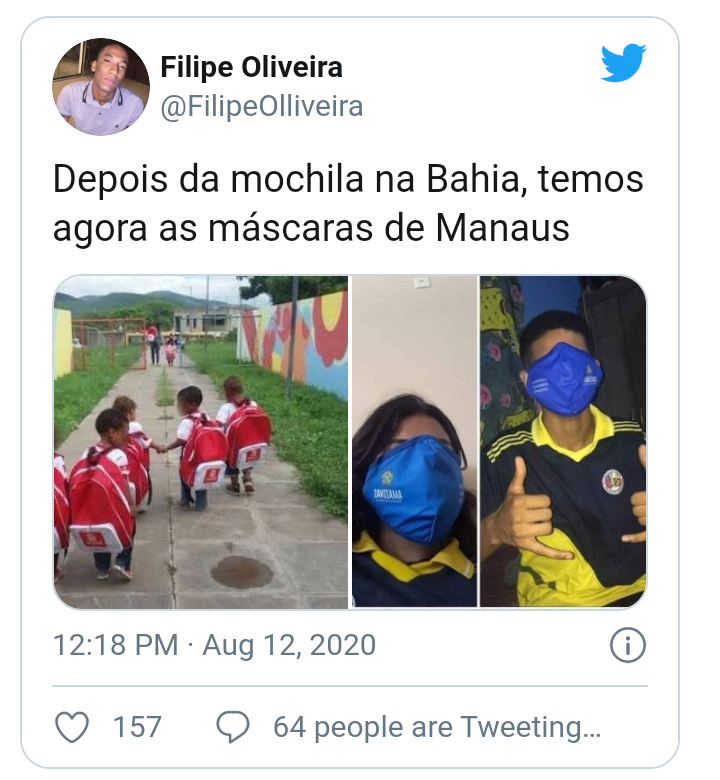 ALUNOS FAZEM MEMES COM MÁSCARA GIGANTE DISTRIBUÍDA PELO GOVERNO DO AMAZONAS